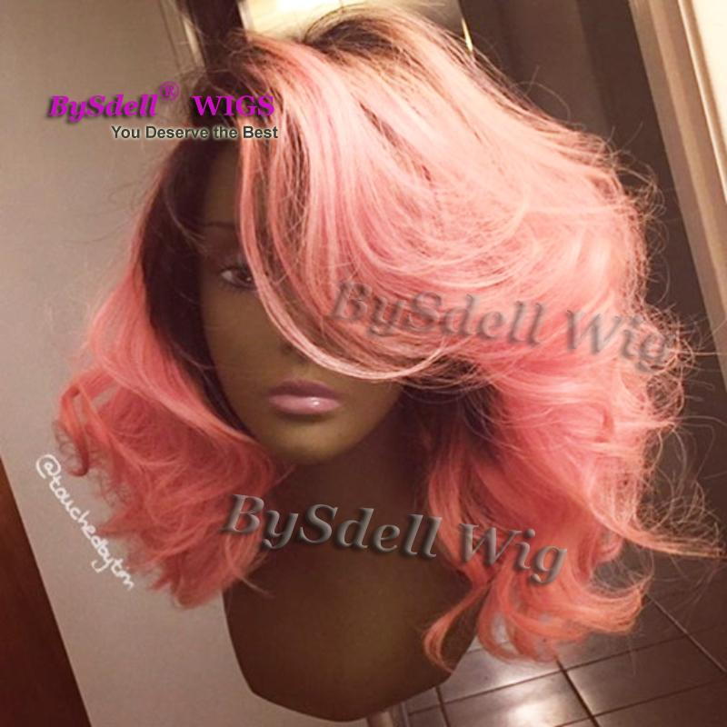 Beauty Short Wavy Black Root Ombre Phloxine Hair Wig Synthetic Fluorescent/Shocking Pink Color Lace Front Wig Glueless Lace Front Wigs