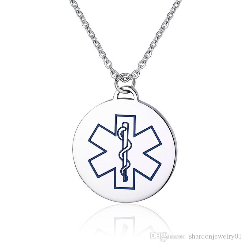 Wholesale stainless steel medical id blue marked and red color wholesale stainless steel medical id blue marked and red color circle tags for men simple fashion pendant cat pendant necklace silver bangles from aloadofball Images