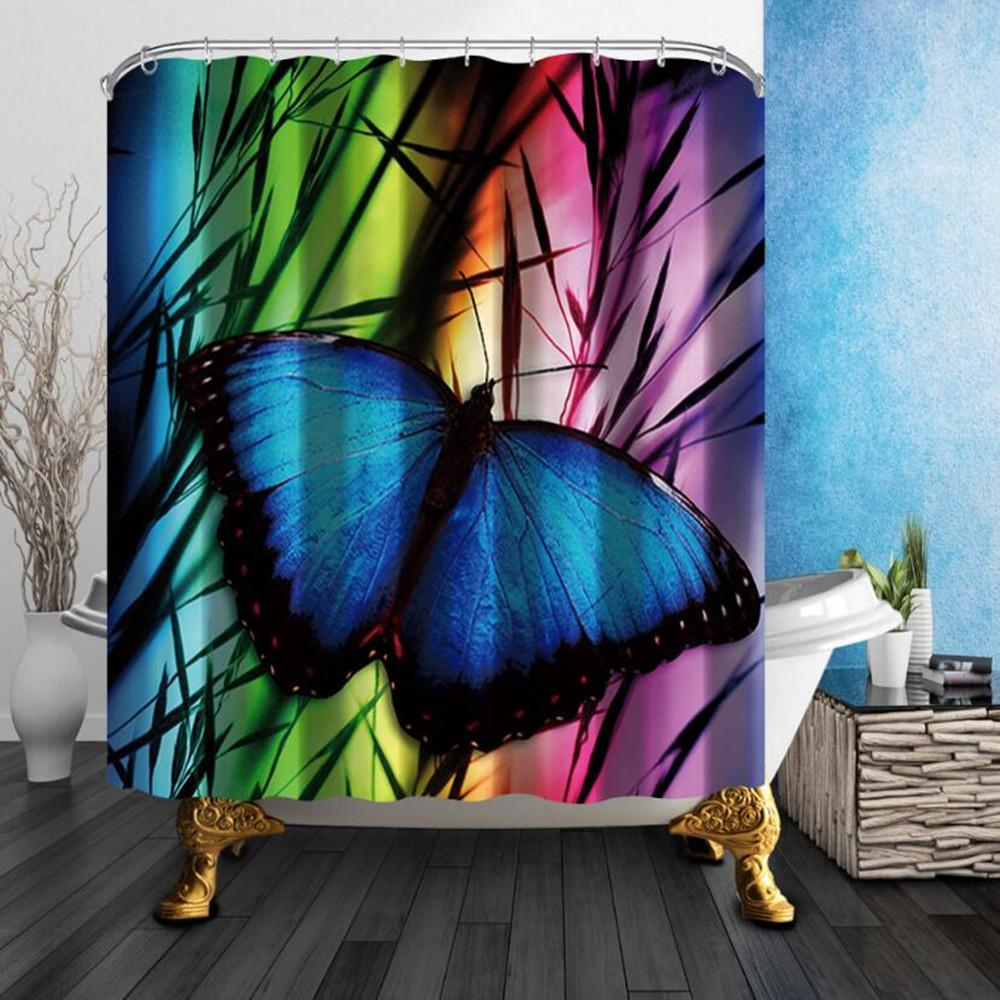 New 180180cm Blue Butterfly Shower Curtains Liner Home Bathroom Mildew Resistant Waterproof Polyester Fabric Room