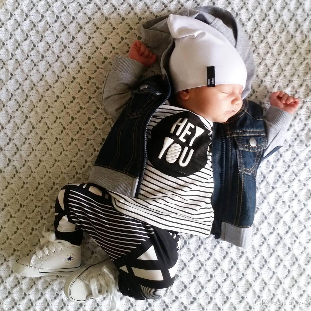 606f1deef 2019 Hey You Boy Outfits Black   White Striped Childrens Clothing ...