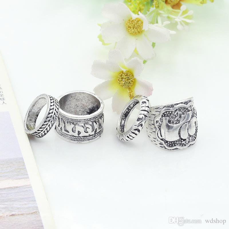 Fashion Vintage Bohemian Turkish Carved Midi Ring Set Stacking Punk Ring Elephant Snake Knuckle Rings