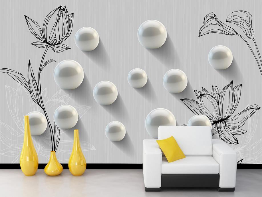 Gewohnheit irgendeine Größe 3D runde handgemalte Musterart und weisewandbildwandbild 3d Tapete 3d Tapeten für Fernsehhintergrund