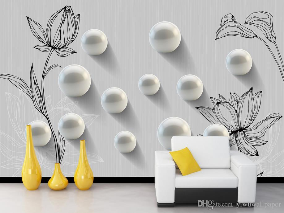 Personnalisé toute taille 3D ronde peinte à la main motif mode murale murale 3d papier peint 3d papiers peints pour la toile de fond tv