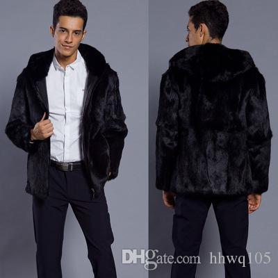 b3665064a32f 2019 Winter Hooded Zip Jacket Men S Black Faux Fur Casual Hoodies Jacket  Fashion Business Formal Suit Coat Warm Overcoats CJG1036 From Hhwq105