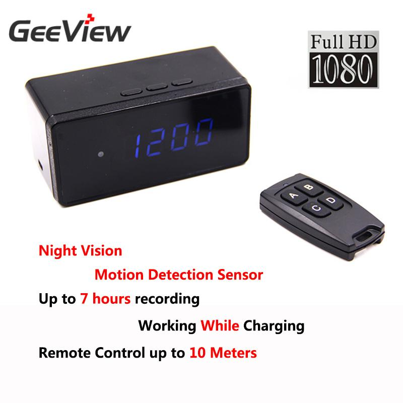 Wholesale- Full HD 1080P Mini Camera Digital Number Led Display Alarm Clock Time Desk Night Vision Camera 2.4G Remote Controller Camcorder
