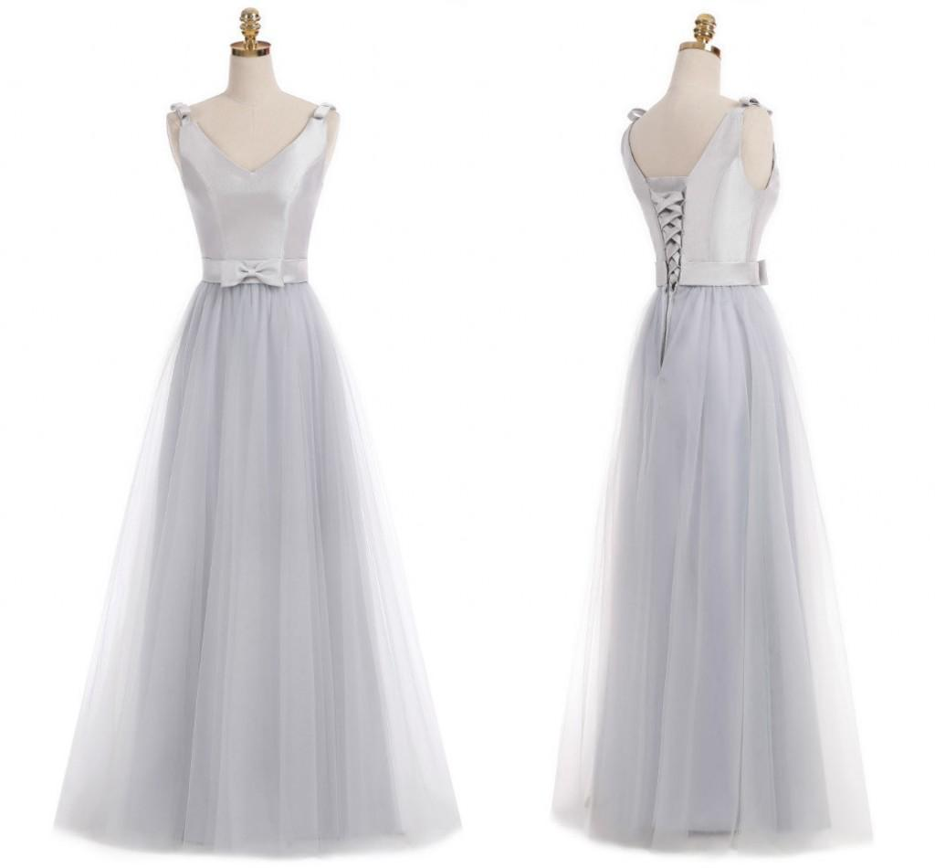 Real 2018 Silver Junior Bridesmaid Dresses V Neck Sleeveless A Line ...