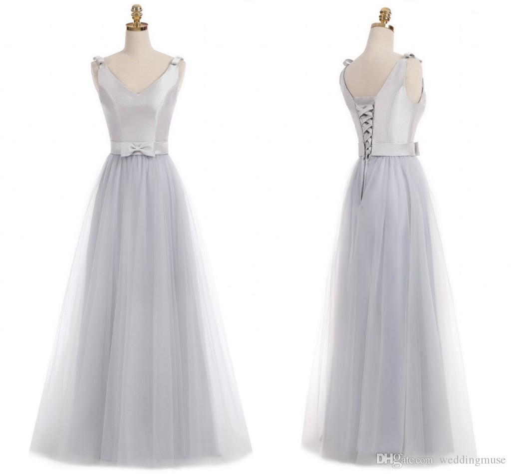 Real 2019 Silver Junior Bridesmaid Dresses V Neck Sleeveless A Line
