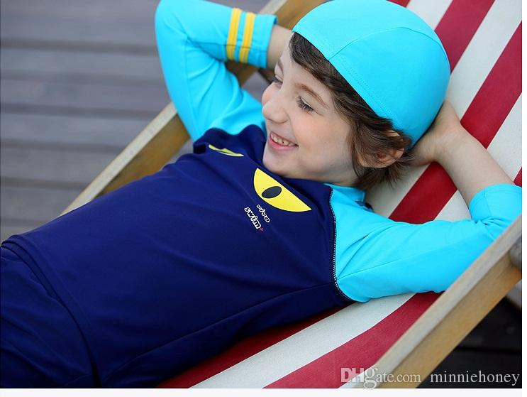 ad90ff751ad03 Children Boy UPF50+ Highly Elastic Comfortable Quick Drying Swimwear  Cartoon Children Long Sleeve Swimwear 2Pcs Swimsuit With Swimming Cap