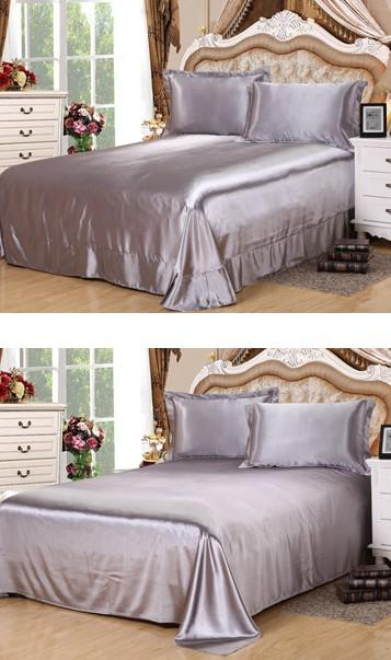Silk Sheets Silver Grey Bedding Set Satin Flat Fitted Bed Sheet Bedspread  Super King Size Queen Full Twin Linens Clearance Bedding Beautiful Bedding  From ...