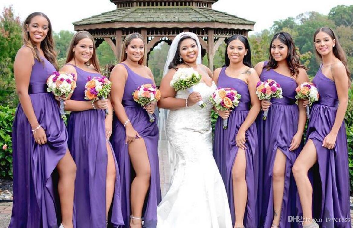 Fantástico Vestido De La Dama Púrpura Un Hombro Cresta - Vestido de ...