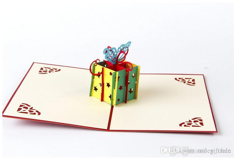 Happy Birthday Gift Box Butterfly Handmade Creative 3D Pop UP Greeting Cards E Card From Giftsale 149