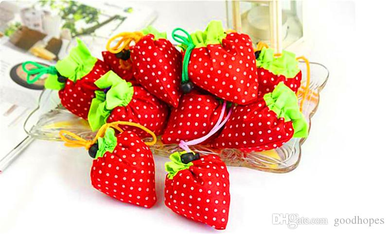 Nylon Portable Creative Strawberry Foldable Shopping Bag Reusable Environmental Protection Shopping Tote Super Market Bag Pouch Handbag