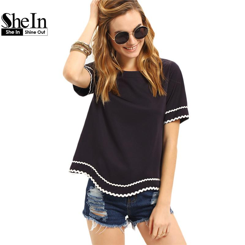34d8b52fd10 Wholesale SheIn Women 2016 New Arrival Fashion Tops Ladies Tee Shirts Crew  Neck Navy Waved Print Trim Short Sleeve T Shirt Thirts Og T Shirt From  Xaviere