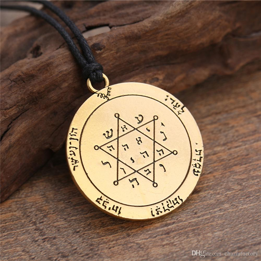 Trendy Fashion Pewter Talisman For Performer Key of Solomon Wicca Star Pentagram Pendant Amulet Jewelry Rope Chain men necklace