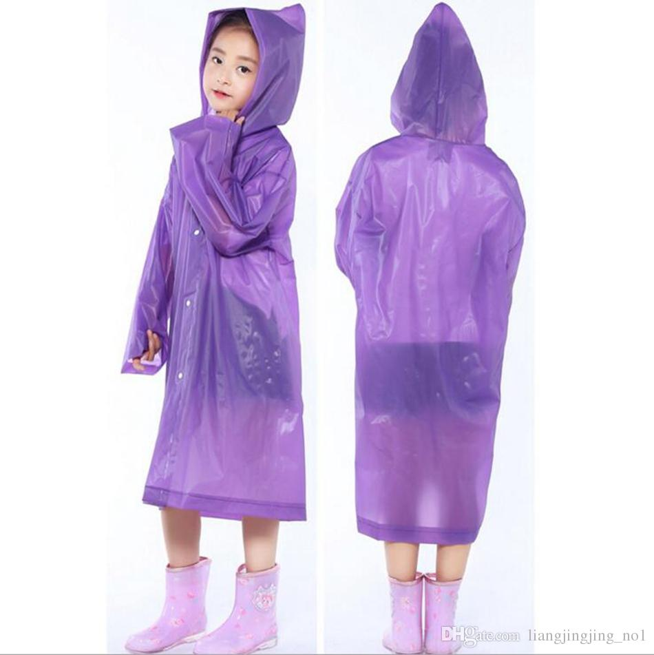 Enfants capuche transparente veste manteaux de pluie manteau de pluie poncho couverture de manteau de pluie longue fille garçon vêtements de pluie 5 couleurs OOA3301