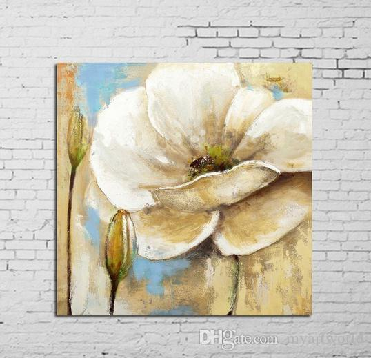 2019 Framed White Flowerspure Hand Painted Modern Wall Decor Floral