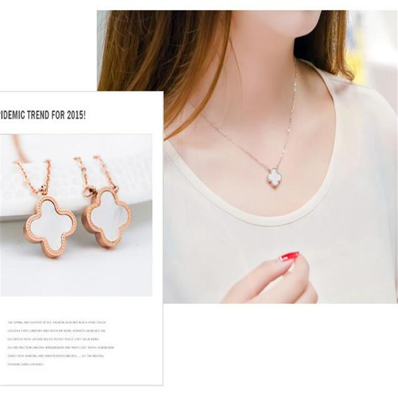 Double faced black four leaf clover necklace female rose gold short design pendant chain birthday gift Ataullah NWC028