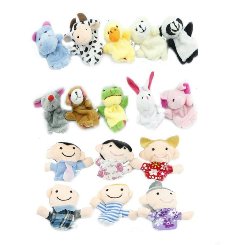 Cute Story Finger Puppets 10 Animals 6 People Family Members Educational Toy High Quality