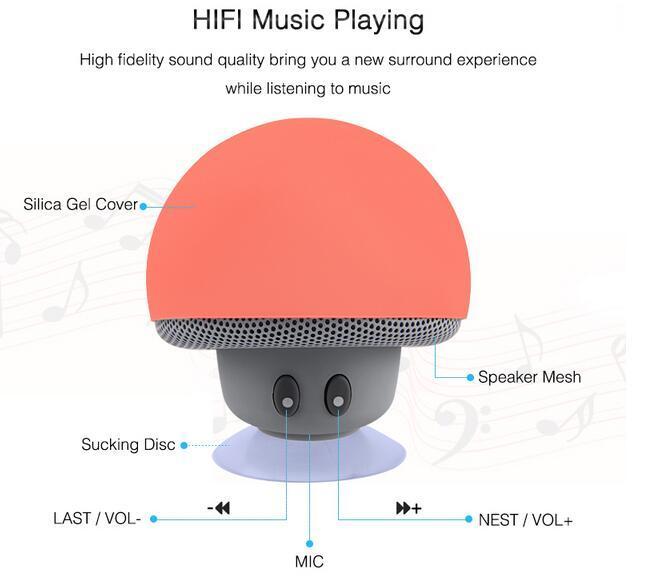 Novo Sem Fio Mini Bluetooth Speaker Portátil Cogumelo Stereo Bluetooth Speaker À Prova D 'Água Com Microfone para o Computador Do Telefone Móvel