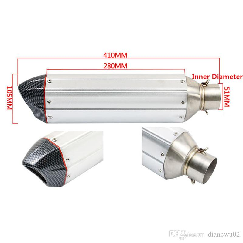 51mm Diameter Motorcycle Exhaust Length 410mm Akrapovic Stainless Steel Exhaust Muffler Pipe Slip On Dirt Street Bike Motorcycle