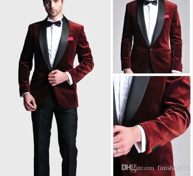 Acheter Mode Marié Marié Smokings Garçons D honneur Un Bouton Rouge Foncé  Velours Châle Revers Meilleur Homme Costume Mariage Hommes Blazer Costumes  Veste + ... 9add1d57815