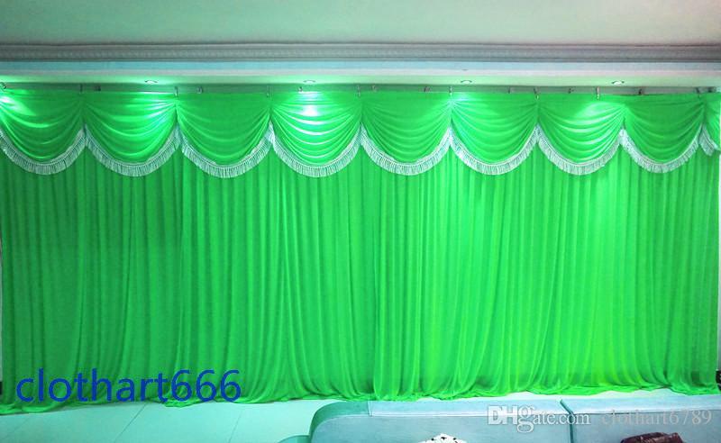 3 متر * 6 متر الزفاف خلفية الجليد الحرير القماش حزب خلفية القماش الستار مع سوجس الاحتفال مرحلة القماش خلفية الأداء