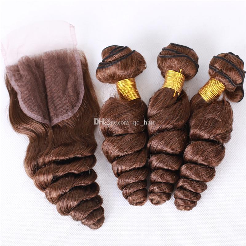 Chcoclate Kahverengi Malezya 4 # Gevşek Dalga Saç Demetleri Ile Dantel Kapatma 4 Adet / grup Gevşek Dalga Koyu Kahverengi Saç Atkı Kapatma Ile