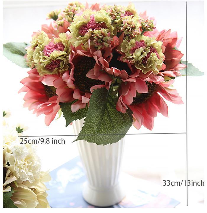 Artificial Oil Painting Color Sunflower Bouquet Wholesale option artificial sunflowers charms for bedding set or wedding bouquets decoration