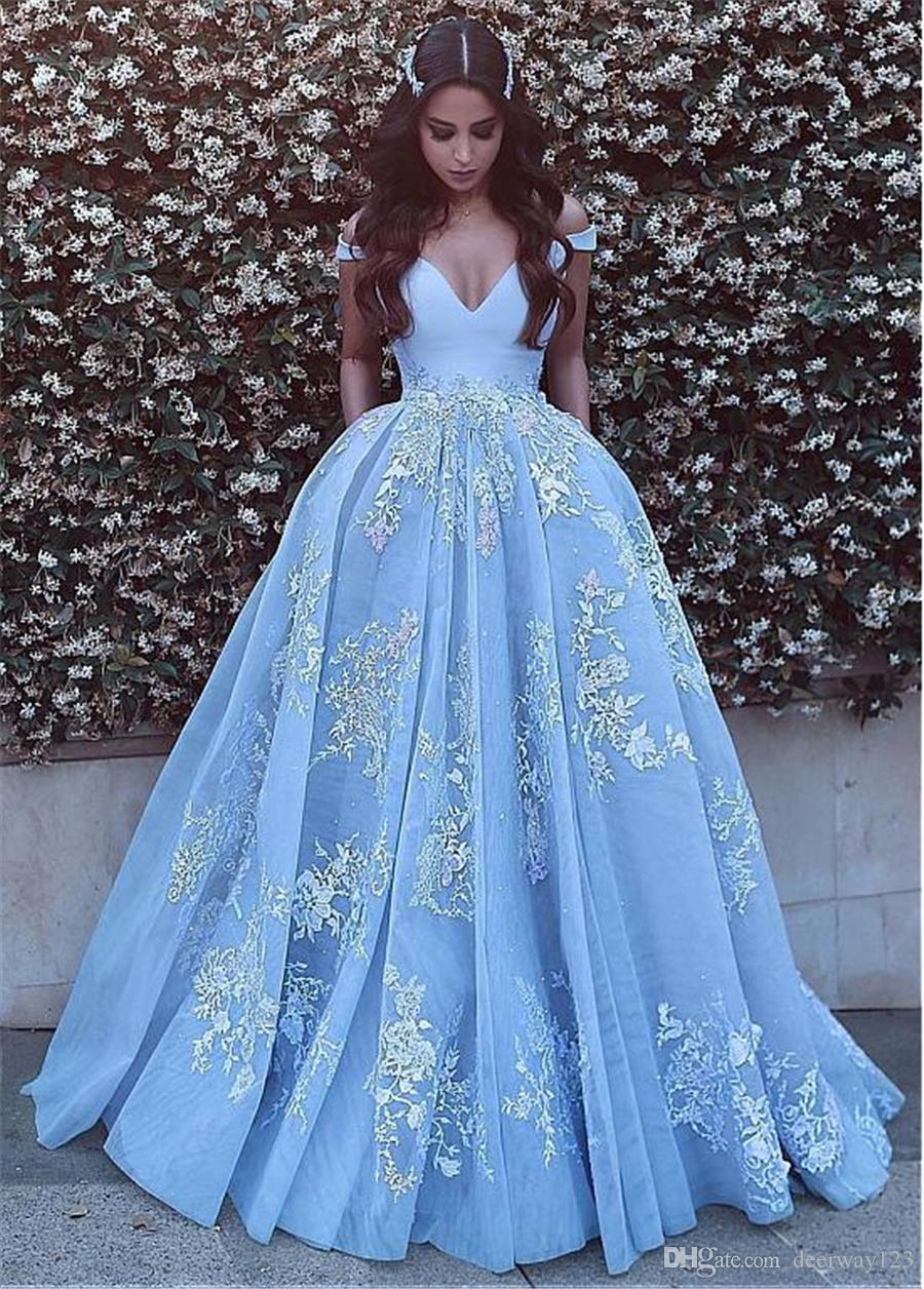 Fuera del hombro escote del vestido de bola Vestidos de noche vestido de fiesta vestido formatura apliques moldeados de encaje azul vestido