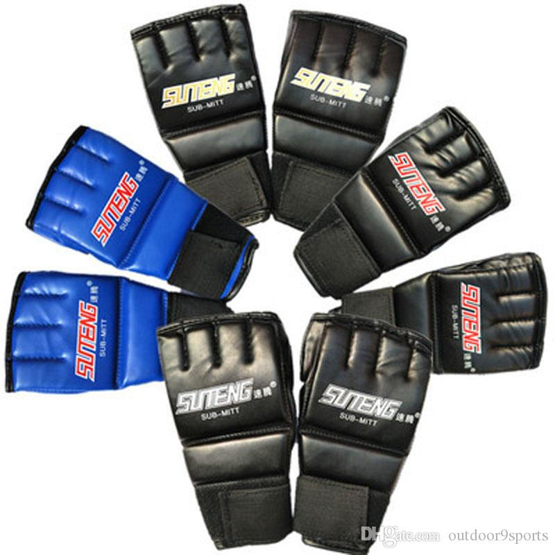 New PU Leather MMA Half Mitts Mitten Boxing Gloves Muay Thai Training Kick Gloves Boxing Protective Gear Gloves