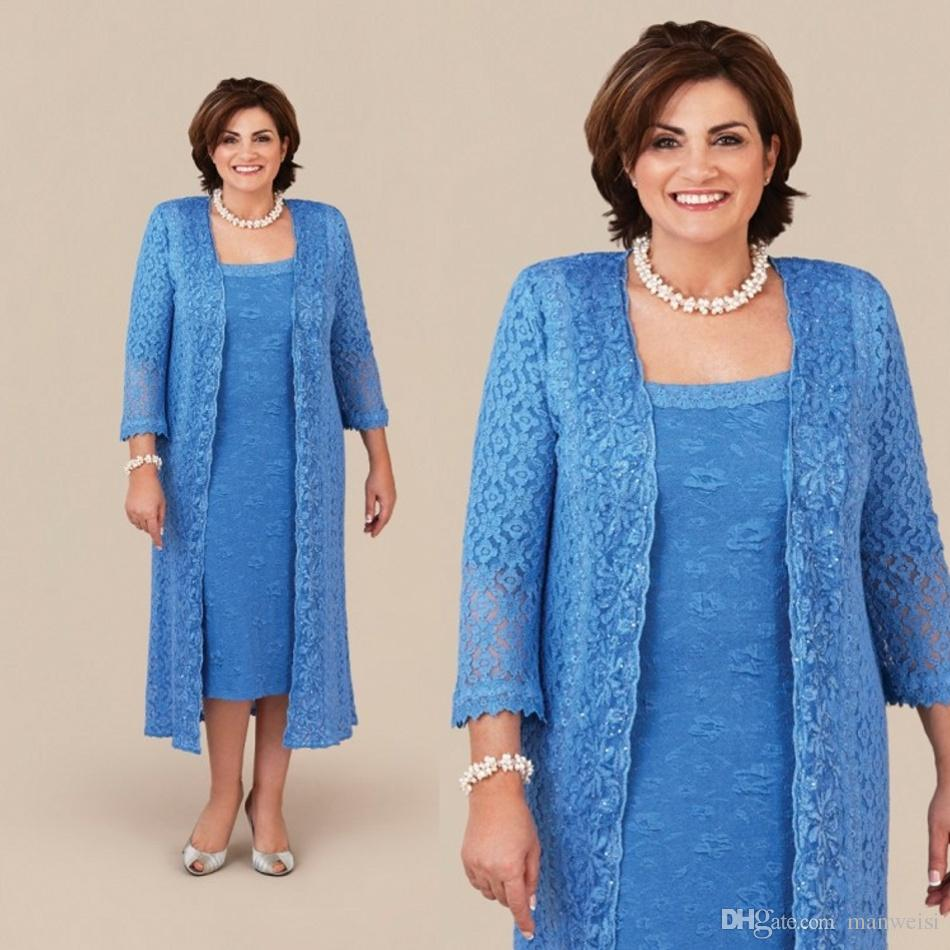 Ann Balon Blue Mother Of The Bride Dresses With Long Jacket Lace Mothers  Wedding Guest Dress Tea Length Plus Size Mother s Groom Gowns