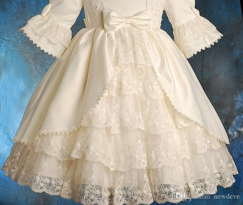 Vintage Gothic Christening Dress Tiered Lace Baby Gowns With Long Sleeves Sequins Infant Baptism Outfits Custom Made