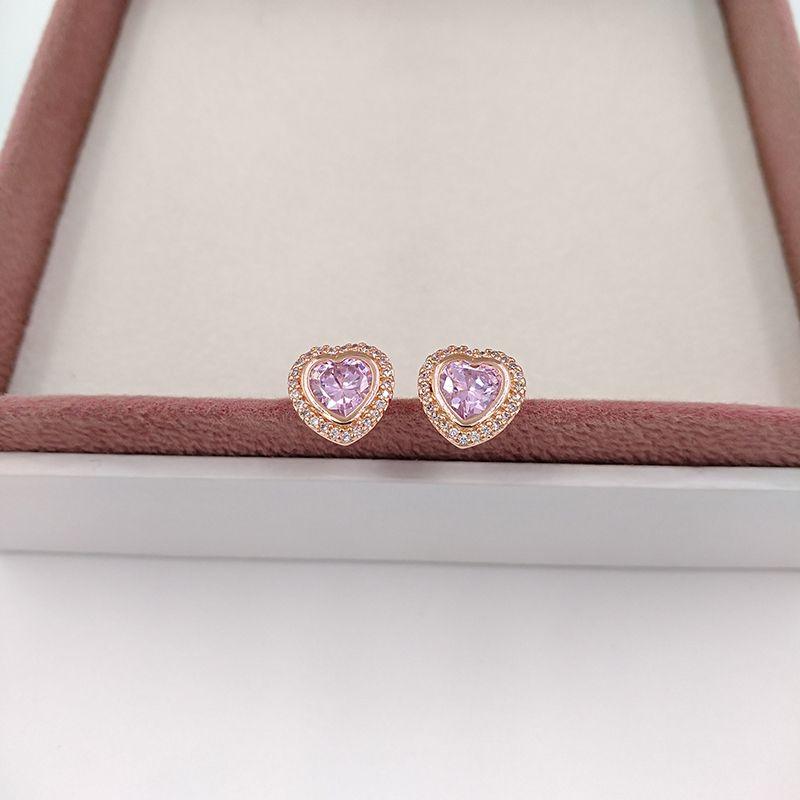 Valentines Day prata de 925 grânulos Sparkling Love, Pink Rose Pandora único estilo europeu Pandora Jóias Z rosa banhado a ouro Studs