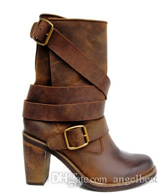 2017 genuine leather vintage retro style women's motorcycle boots autumn winter ankle boots chunky heel martin boots high quality booties