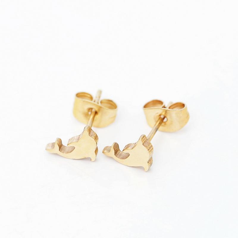 Nette Delphin-Ohrstecker Kaninchen und kleine Füße Edelstahl Ohrring Nette Frauen Charme Schmuck Großhandel 10 Paare / satz