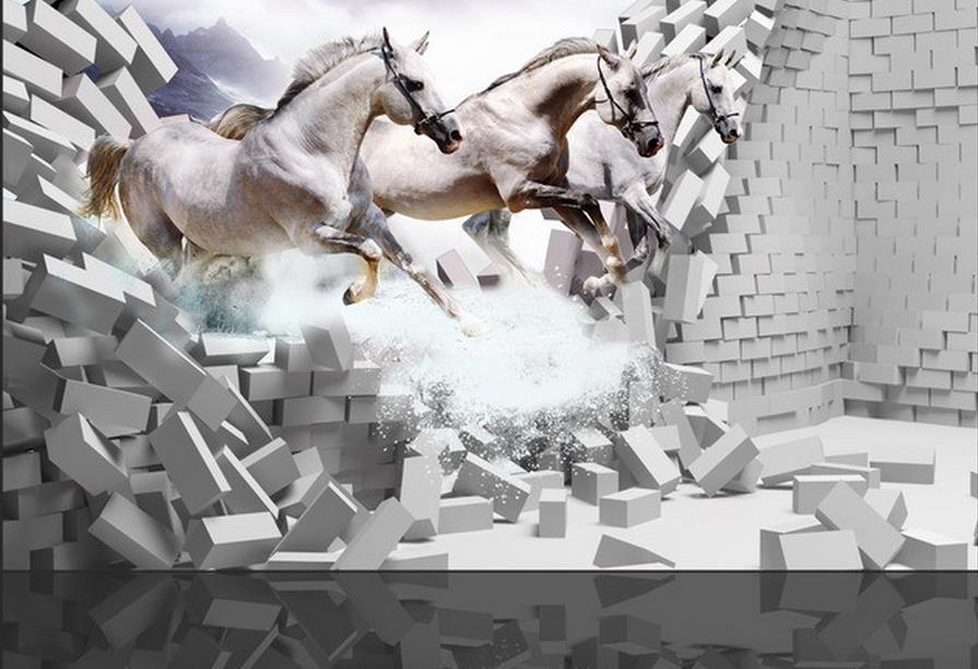 papel pintado personalizado para paredes Paseo en caballo blanco papel pintado mural en 3D para sala de estar