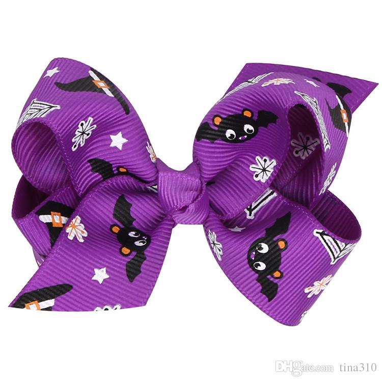 Hallowmas Flower pumpkin hairbows Barrettes girls hairclip Boutique Bowknot Forcine capelli accessori capelli regalo GB070