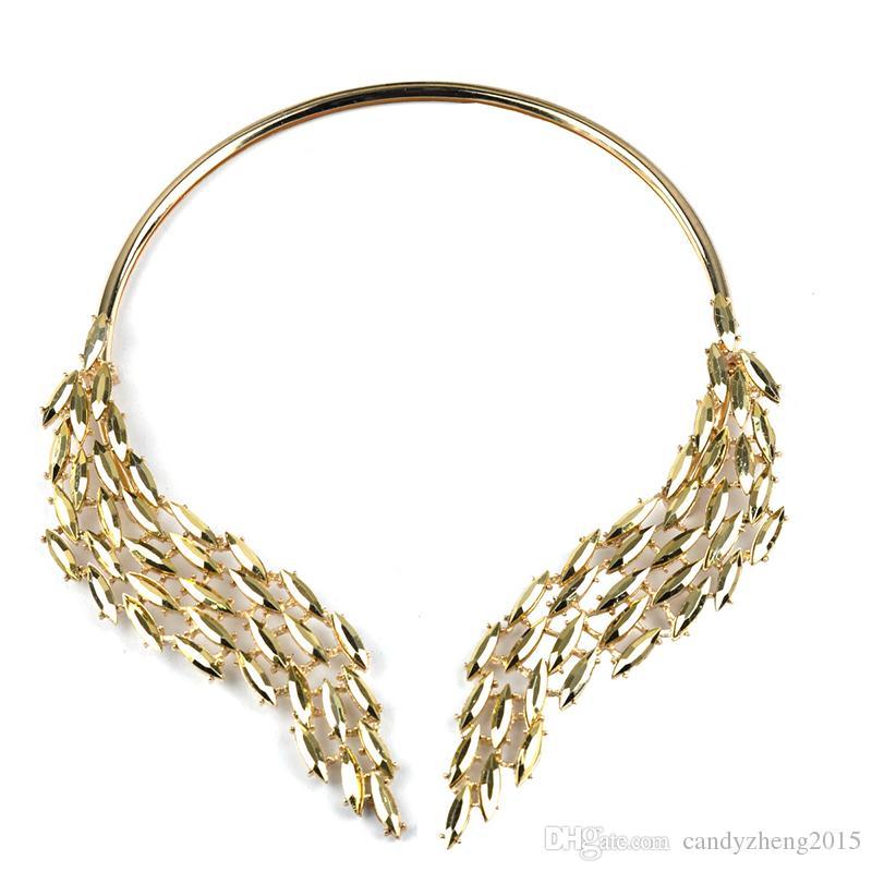 Einzigartige top qualität der flügel von engel choker kette romantische legierte halsketten engelsflügel halskette für elegantes kleid