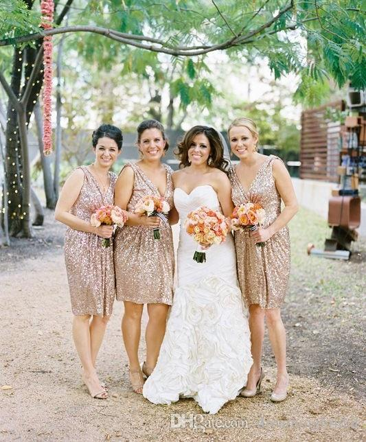 Gold Short Bridesmaid Dresses 2017 New Sleeveless V Neck Sequins Keen Length Formal Wedding Dresses Party Gown Custom Made Plus Size
