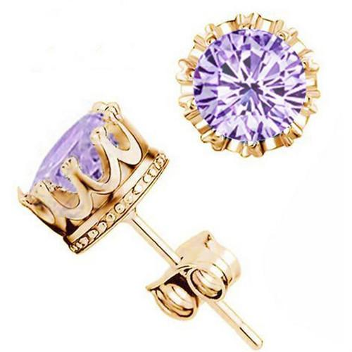 Top quality S925 sterling Silver 18KGold/Silver plated Crown Royal Earring for women set with crystal