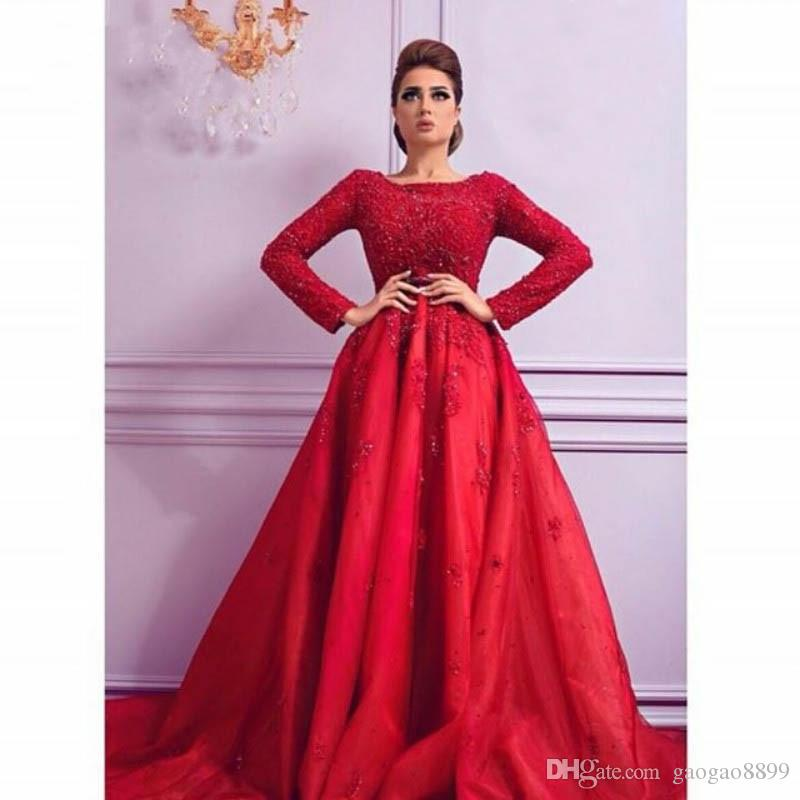 b489e5a5f8 Sparkly 2017 Red Long Sleeve Lace Muslim Evening Dresses Party Turkish Women  Ball Gown Beaded Arabic Style Formal Prom Gowns Dresses Sexy Evening Dresses  ...