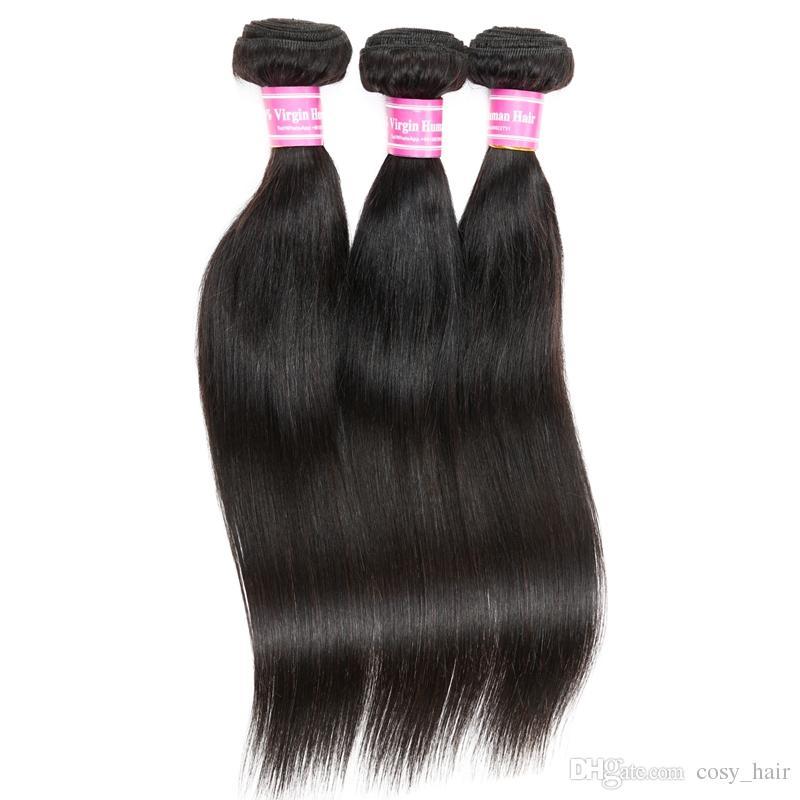 La migliore vendita indiana indiana vrigin capelli umani 3 pezzi / lotto seta capelli lisci tesse tingere le estensioni dei capelli vergini indiani vergini
