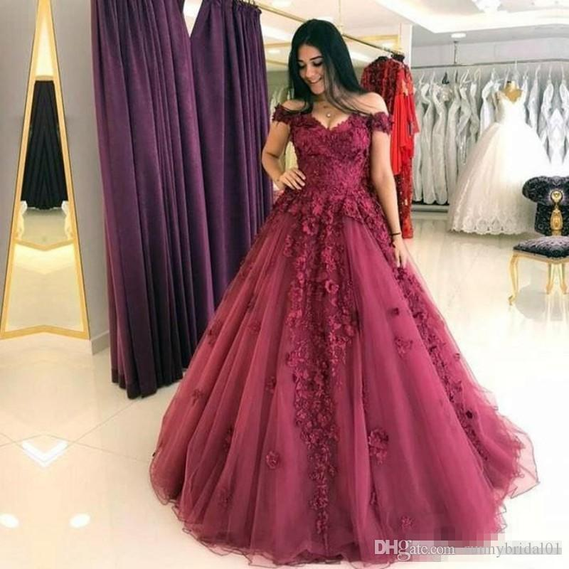 Off Shoulder Burgundy Lace A Line Formal Evening Dresses 2017 Plus Size Floor Long 3D Floral Prom Party Occasion Gowns Custom Made Cheap