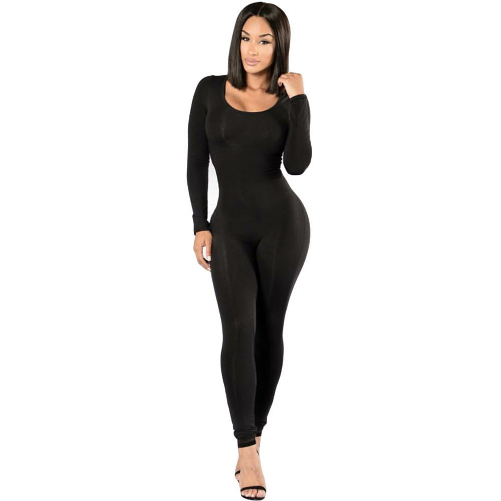 692be5ca2050 2019 Rompers Womens Jumpsuit New 2016 Winter Long Sleeve Full Length Black  O Neck Sexy Club Black Bodycon Jumpsuits And Overalls Q171118 From  Yizhan01