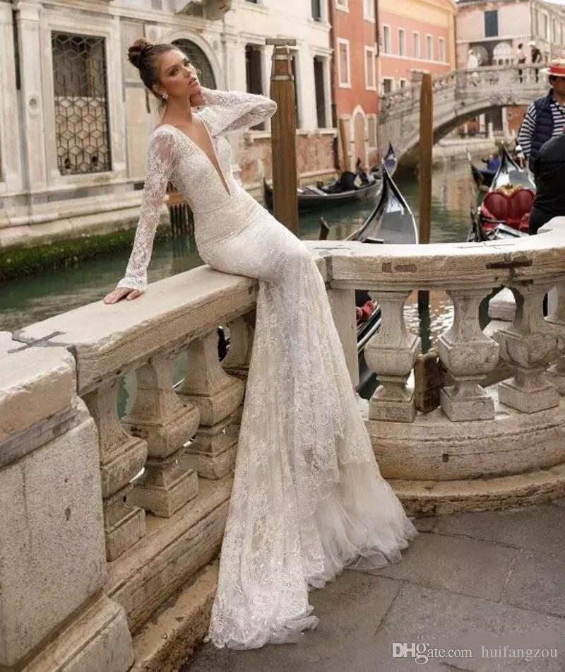 Berta 2018 Full Lace Wedding Dresses Sheer Long Sleeves Plunging V Neck Sexy Backless Mermaid Bridal Gowns Vintage Wedding Wear