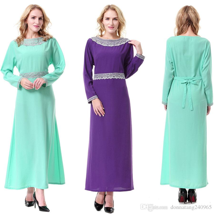 01c721ebe283 Graceful Vintage Muslim Maxi Dress Lace Embroidered Neck Ethnic Dress  Polyester Linen Long Sleeve Long Maxi Dress Shirt Dresses Fashion Dress  From ...