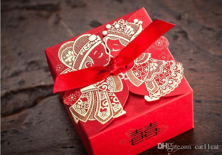 Best Quality Cheap Wedding Favor Boxeswith Ribbon Red Chinese ...
