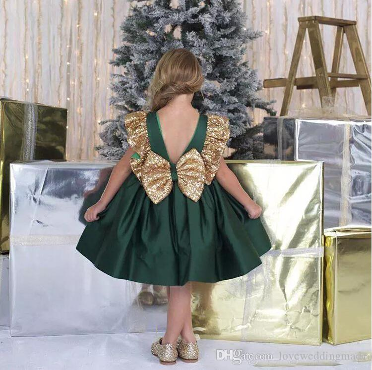 2017 dark green girls' pageant dress knee-length jewel sequin satin ruffle lovely princess kids birthday party homecoming gown