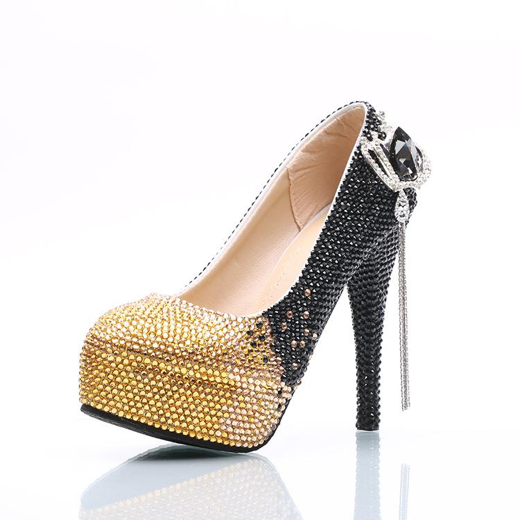Wholesale Gold Black Ombre Tassel Gems Cinderella Shoes Hand-made Prom Evening High Heels Beading Rhinestones Bridal Bridesmaid Wedding Shoe