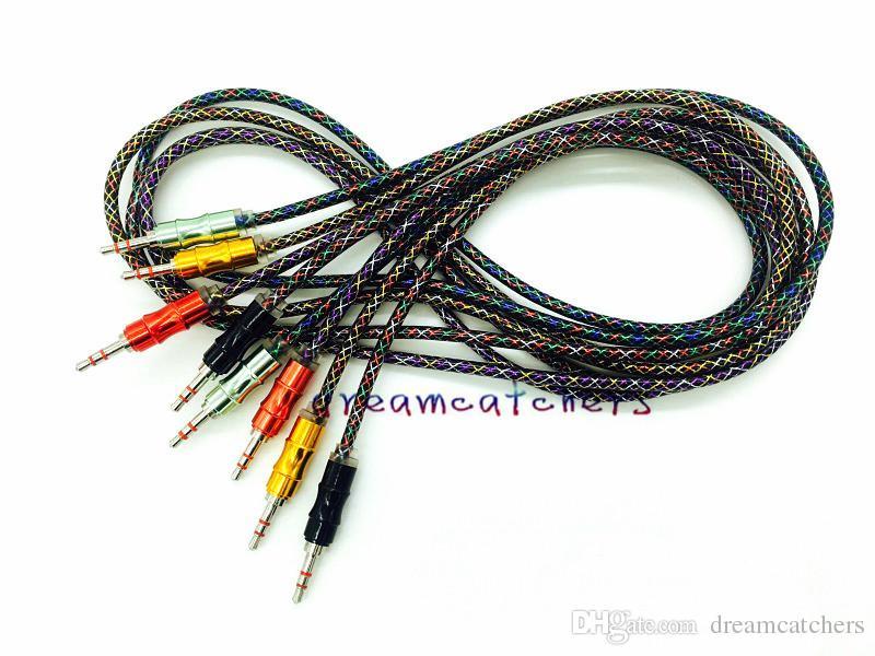 Neue geflochtene gewebt 3,5mm aluminium metall aux audio kabel auto stereo schnur männlich 1 mt 3ft draht für iphone samsung mp3 computer lautsprecher